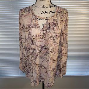 MELISSA MCCARTHY • pink abstract blouse